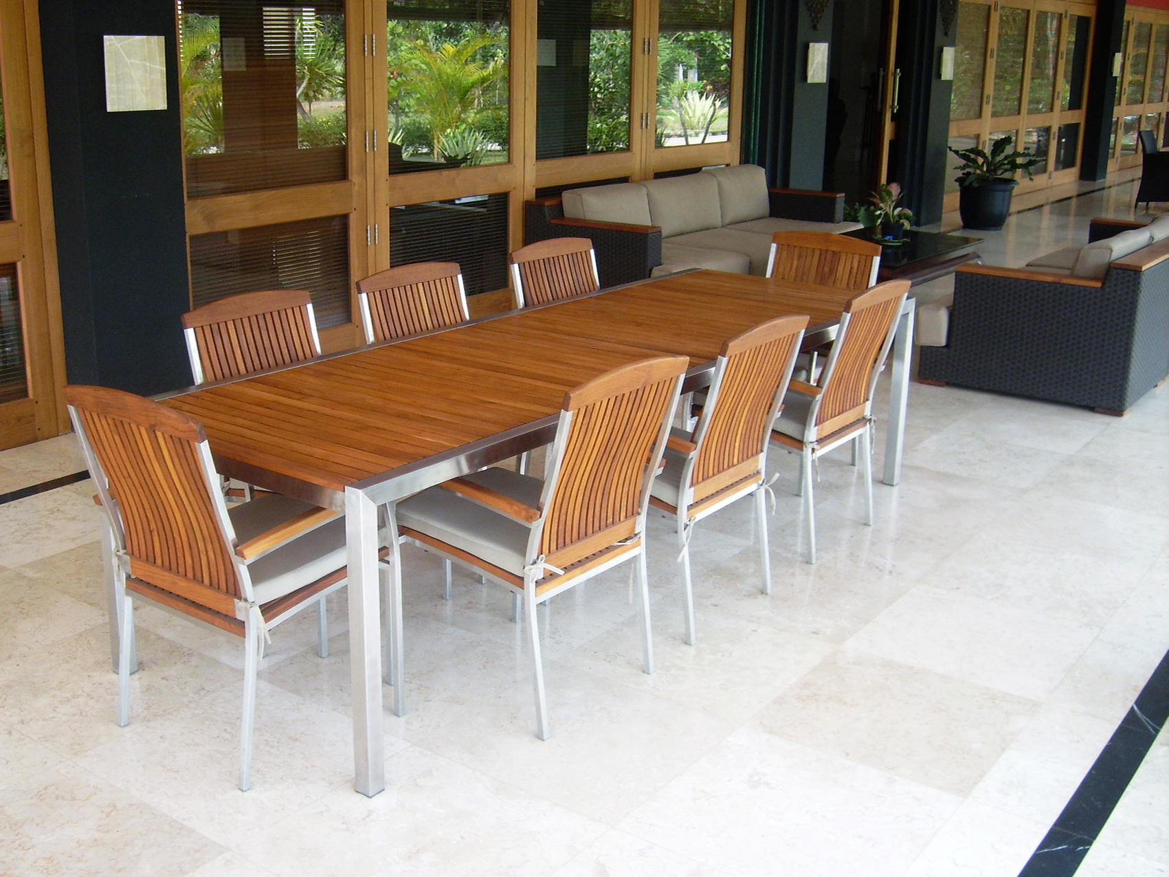 Teak outdoor dining table for villa projects