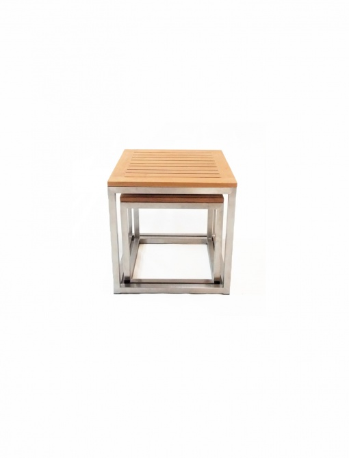 Stainlees_Steel_Table_Square-Alea_set_45+38cm_Stainless